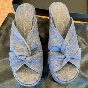 Robert Clergerie Esther Blue Denim Sandals Size 8